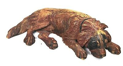 Beautiful large antique Black Forest St Bernard's carved dog Walter Mader
