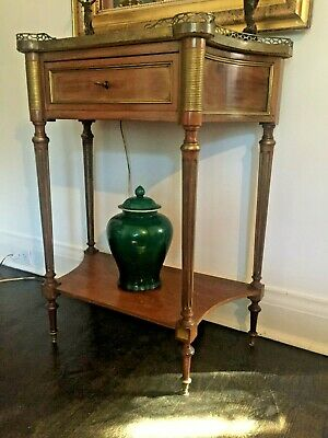 Antique French marble top side table with gallery and inlays.