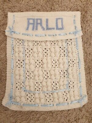 Beautiful Baby Boy Pram Blanket Personalised with Arlo White And Blue