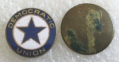 Antique Democratic Union Member Lapel Pin - Screw Back