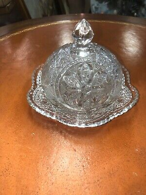 ABP Brilliant Cut Glass Crystal Domed Butter Cheese Dish Polished Hobnail Flower