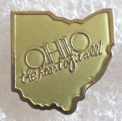 State of Ohio Map Travel Souvenir Collector Pin-The Heart Of It All