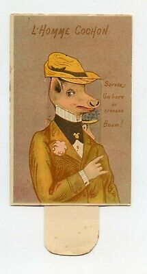 Postcard Antique with System in Pull. L'Homme Pig