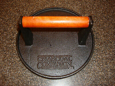 "CHARCOAL COMPANION Cast Iron Hardwood Handle 7"" Diameter Round"