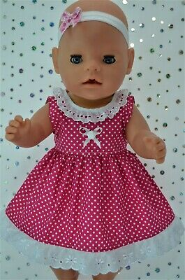 "Play n Wear Dolls Clothes To Fit 17"" Baby Born HOT PINK POLKA DOT DRESS~HEADBAND"