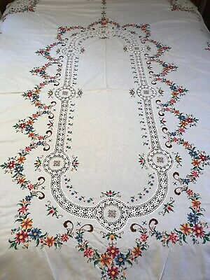 "Vintage Hand Cross Stitch Embroidery & Crochet Lace Banquet Tablecloth 66""x 98"""