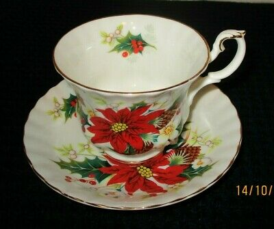 "Royal Albert ""Poinsettia"" Bone China Footed Tea Cup & Saucer"
