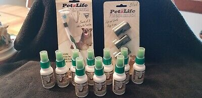 Peppermint Oral Care Spray, Dogs / Pets 10 - 1 oz Bottles Tooth Brush 3 Finger
