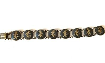 Antique Niello Signed SIAM Sterling~925 Silver Enamel Panel Link Bracelet~vtg