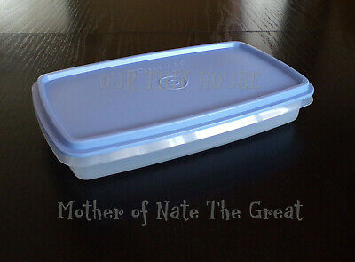 TUPPERWARE Deli Bacon Keeper BLUE Vintage Slim Snack Stor Meat Cheese Container