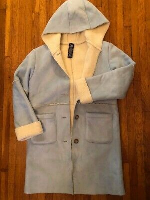 GAP Faux Suede Shearling Baby Blue and Cream Youth Girl's Jacket Coat Sz L/10