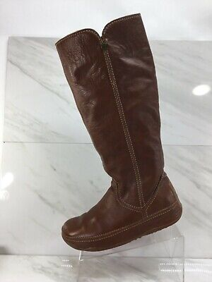 FitFlop Womens Tall Brown Leather Dress Casual Boots Ladies Size 11M