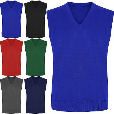 Boys Girls Sleeveless Knitted Tank Top V-Neck Jumper Kids Uniform School Wear