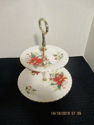 "Royal Albert  ""Poinsettia"" Bone China  2-Tier Dessert Plate"