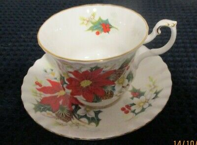 "Royal Albert ""Yuletide"" Bone China Footed Tea Cup & Saucer"
