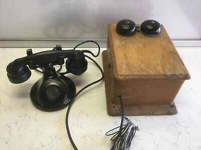Antique Western Electric Wall Hand Crank Telephone With Desk Phone B1 And E1