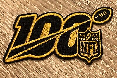 2019 100th ANNIVERSARY NFL STEELERS SHIELD PATCH SAINTS IRON ON 100 BLACK GOLD