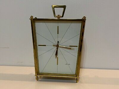 Vintage Mauthe German Art Deco Chiming Wind Up Desk Clock Fully Functional