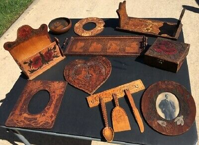 Collection of 10 Antique early 1900's Decorative Pyrography Burnt Woodenware