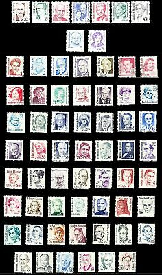 US, #1844//2943 Great Americans full set of 3 issues 1980-99, 64 stamps, MNH