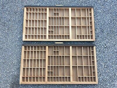 Pair Of Antique Vtg Printers Cabinet Letterpress Type Wood Printing Tray Drawers