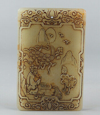 Chinese Exquisite Hand carved landscape people Carving Hetian jade Pendant