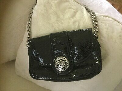 Brighton Black Leather Croc Handbag Purse Leather Chain Strap With Silver Close