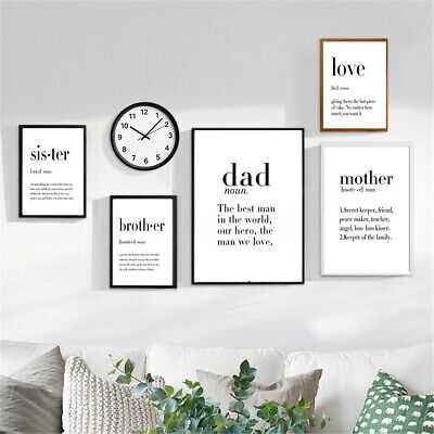 Modern Dad Mother Quotes A4 Poster Nordic Art Canvas Print Home Wall Decor  b