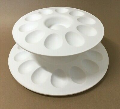 TUPPERWARE EGG-CEPTIONAL 2 Tier SERVER SET Deviled EGGS Appetizers Fruit White