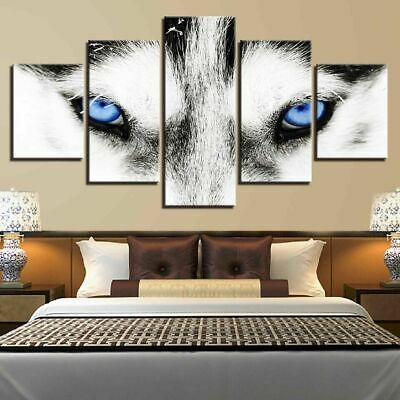 Home Decor Picture Animals Wolf Blue Eyes Canvas Prints Painting Wall Art 5PCS