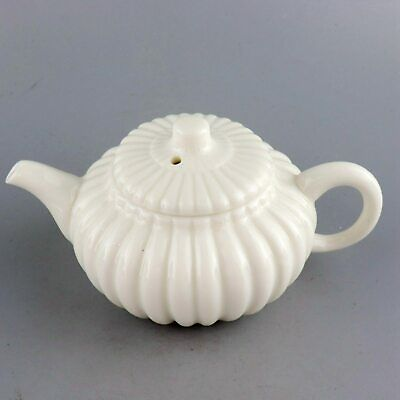 Collect Old White Porcelain Glaze Hand Carve Delicate Royal Family Noble Tea Pot