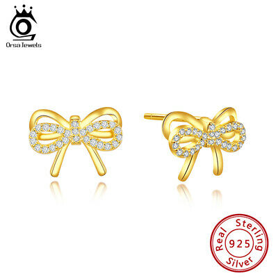 S925 Silver Stud Earrings Cubic Zirconia Cute Bow Shape Beauty Jewelry Gift