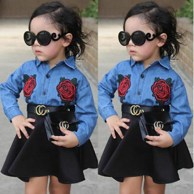 Toddler Kids Baby Girls Outfits Floral Clothes Denim Shirt & Cotton Skirt Sets