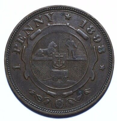 1898 South Africa One 1 Penny Zuid Afrikaansche Republiek