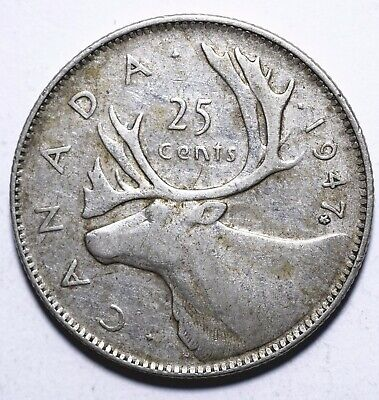 1947 Canada Twenty Five 25 Cents - George VI with IND:IMP: