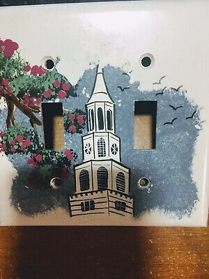 Vtg Art Deco  Double Toggle Light Switch Wall Cover Plate St Michaels Church SC