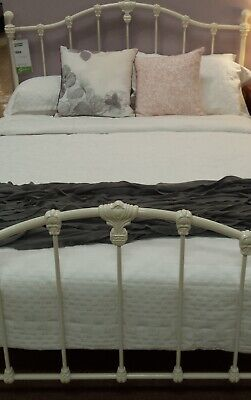 "Double bed frame antique white ""claremont""cast iron Adairs comes with slats"