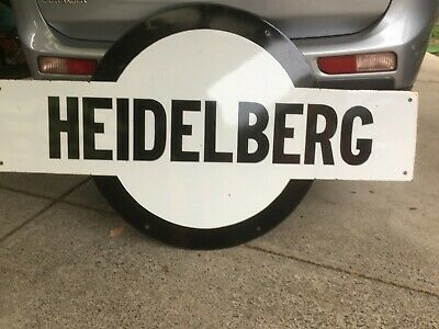 Original Large Enamel Heidelberg Railway Station Sign