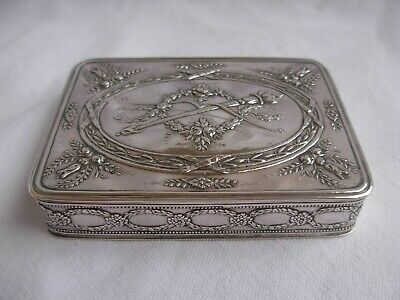 ANTIQUE FRENCH SOLID SILVER BOX ,LOUIS 16 STYLE,LATE 19th CENTURY,