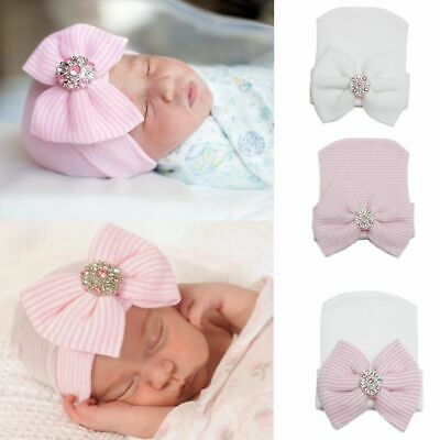 Baby Girl Infant Striped Soft Hat with Bow Cap Hospital Newborn Beanie Diomand