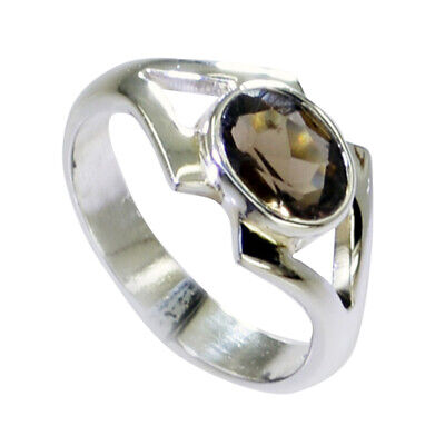 Natural Smoky Quartz Ring Sterling Silver Oval Cut Bezel-Setting Jewelry Gift