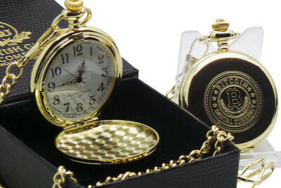 BITCOIN  24k Gold Clad Pocket Watch Luxury Gift for Digital Currency Wallet