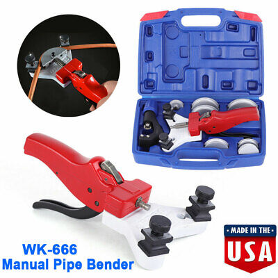 "WK-666 Manual Copper Pipe Bender Tube Bending Tool Kit w/ Tube Cutter 3/16""-1/2"""