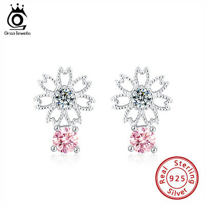 S925 Silver Pink Cubic Zirconia Stud Earrings Hollow Flower Shape Women Jewels