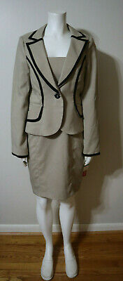 Women's Biege And Black Detail Dress And Jacket Suit - Xoxo - Size 7/8 & L New