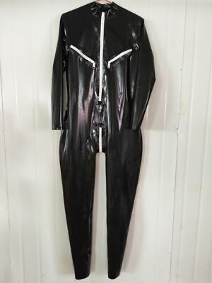 Latex Rubber Catsuit Cozy Gummi Zipper Bodysuit Schwarz TIght Ganzanzug S-XXL