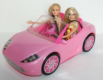 Mattel Barbie Glam Convertible Pink Car and Barbie Dolls