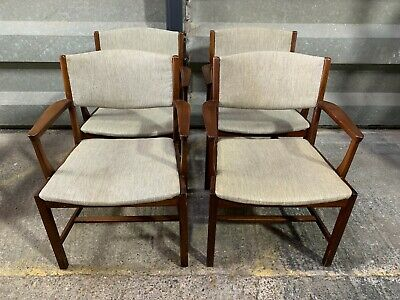Set of 4x mid century Danish teak elbow chairs office dining conference armchair