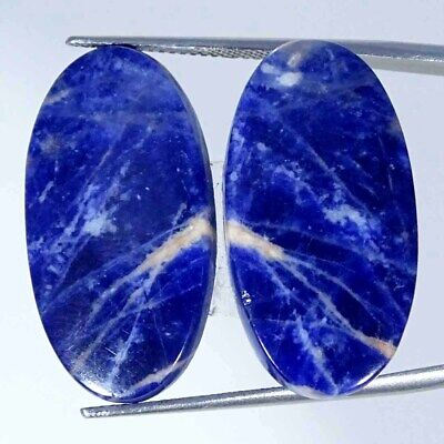24.80Cts Natural Blue Sodalite Pair Oval Cabochon Loose Gemstone