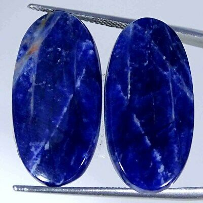 19.70Cts Natural Blue Sodalite Pair Oval Cabochon Loose Gemstone